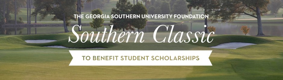The Georgia Southern University Foundation Southern Classic to benefit student scholarships text overlaid on an image of a golf course
