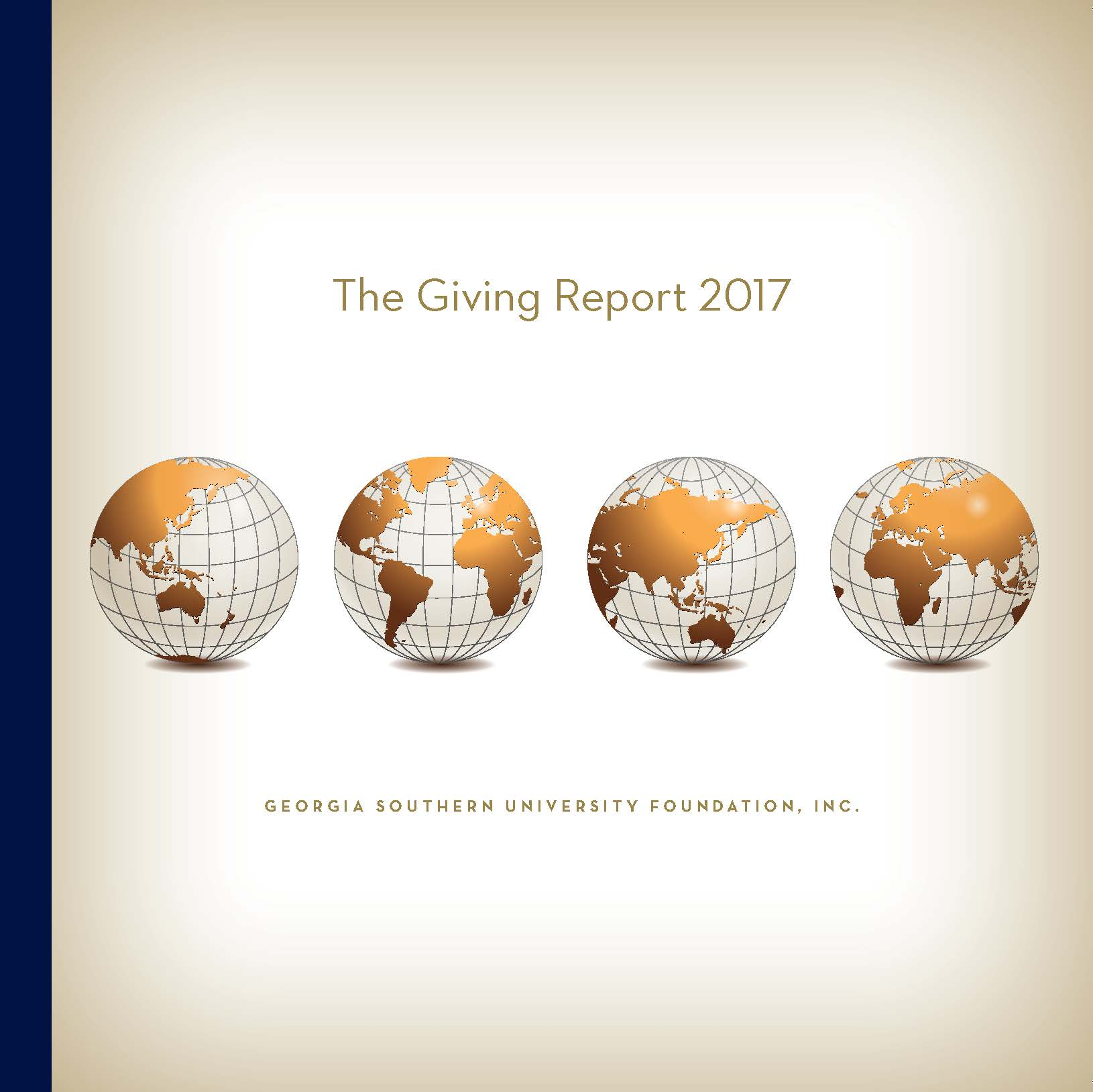 The Giving Report Our Global Eagle Nation annual report cover with four globes lined up